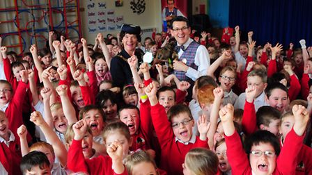 Olly Day performs his 1000th Road Safety Magic Show at Arden Grove Infant & Nursery School in Helles