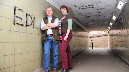The underpass leading from Minstergate under a Norwich Rd in Thetford which is blighted with graffit