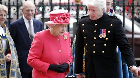 The Queen with Bruno Peek at Westminster Abbey during the Commonwealth Day flag raising. Photo: copy