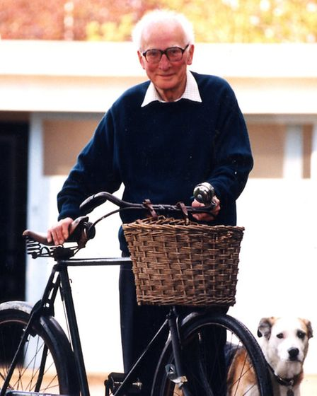 Mr Tilsley with his Sunbeam bicycle, Bucephalus, pictured in 1996.