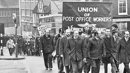 Former postal worker Roy Durrant heading up the postal workers strike of 1971 in Rose Lane, Norwich.
