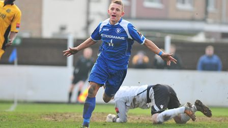 Ryman Premier League action between Lowestoft Town and Maidstone United. Jake Reed winning goal for