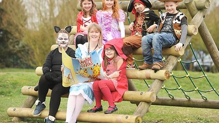 Pictured with pupils is acting head of teaching and learning Nicola Kaye. They are dressed up as par