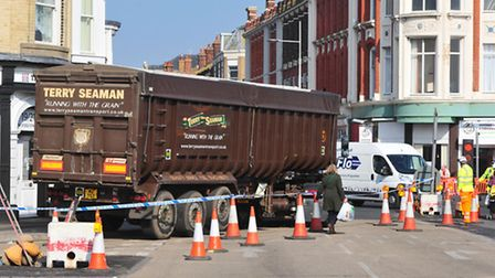 Traffic chaos in Lowestoft due to road works and a collision between a lorry and a pedestrian on the