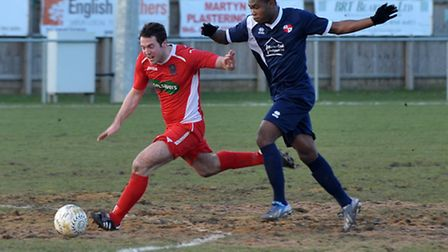 Matt Lunn, left, in action for Wisbech against Northampton Sileby Rangers. Picture: Steve Williams.