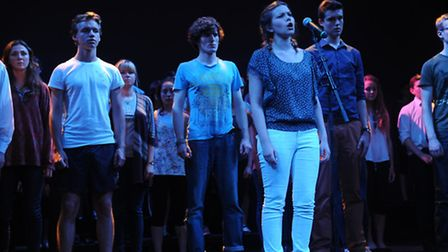 Students from Norwich School rehearse for the first show of the Young Norfolk Arts Festival 2013 at