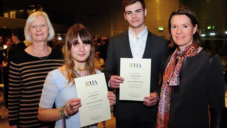 University of East Anglia students Lucy McKinlay and Daniel Meek meet their scholarship donors Carol