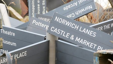 Some of the signs which were found in a council depot.