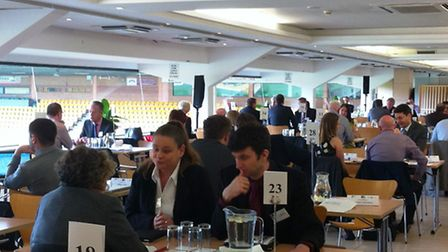 Buyers and suppliers striking deals at the Norfolk Chamber of Commerce Meet the Buyer event. Carrow