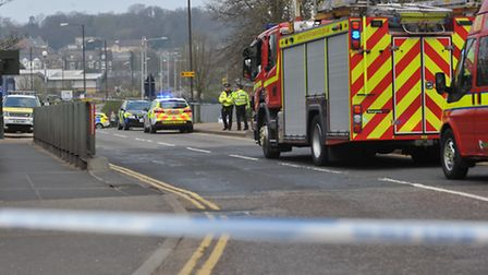 Emergency services at the Carrow Bridge incident. Photo: Bill Smith