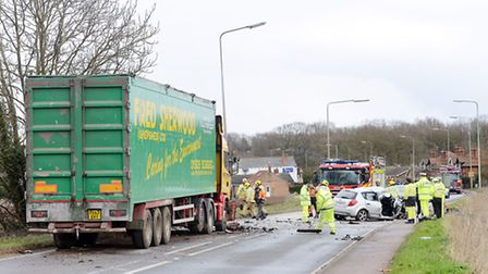 The scene of the crash on the A47. Picture: Matthew Usher.