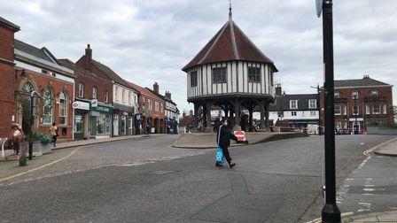 Wymondham town centre which had seen a high number of coronavirus cases