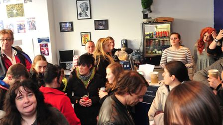 Dr Who star Sophie Aldred visited the Dawn Of Time coffee shop in Lowestoft,