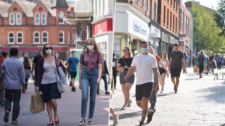 A study shows footfall in Ipswich has recovered more markedly than in Norwich but Norwich had the better consumer spend...