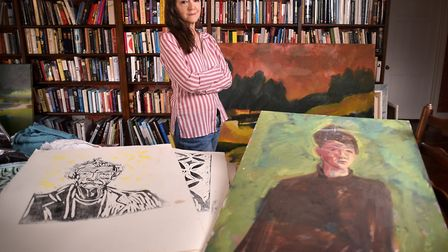 Lady Hurt, wife of the late actor Sir John Hurt. Pictured with some of John's artwork. Picture: ANTONY KELLY