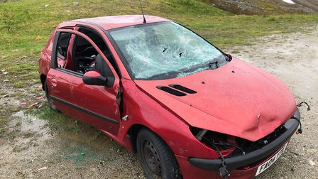 A Peugeot 206 which has been abandoned in the Arctic Circle. Picture: Marius Medli