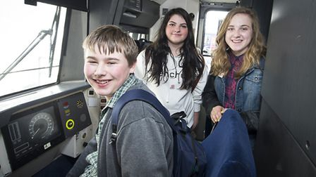 Three Red Balloon-Norwich students on a refurbished First Capital Connect train. Peter Alvey Photogr