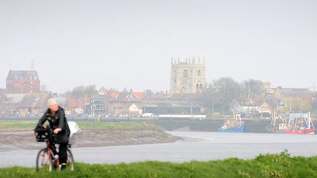 A view of King's Lynn waterfront with a misty haze viewed from the Cut Bridges in South Lynn. Pictur