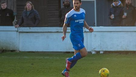 Carlos Edwards, on the ball during his Bury Town debut. Picture: HANNAH PARNELL