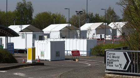 The coronavirus drive-through testing facility near the Copdock Interchange in Ipswich Picture: SARAH LUCY BROWN