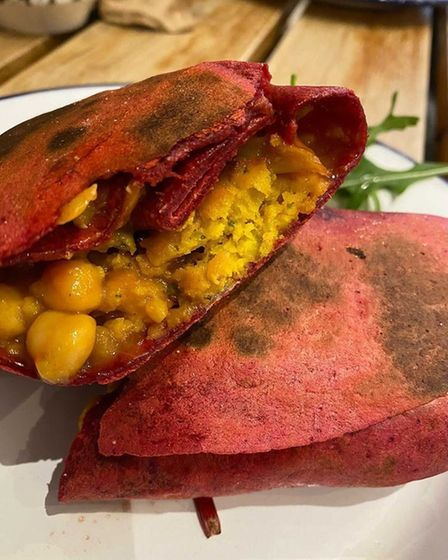 The Feed dhal and beetroot wrap