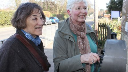 Pat Horn of Felmingham, who went to school at Overstrand more than 60 years ago, tries out a listeni