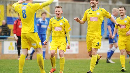 Lynn's Danny Quigley (8) headed home the second goal of the day. Picture: Ian Burt