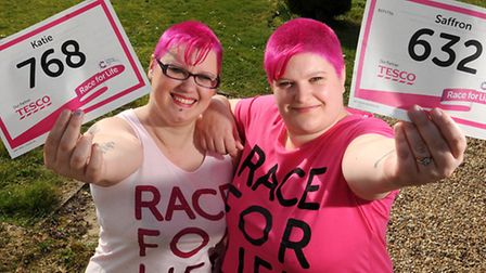 Saffron Curtis, right, and her friend Kate Rose are taking part in Race for Life 2014. PHOTO: ANTONY