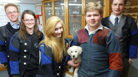 Pictured (from left) is George Anderson, Clare Mawson, Bryony Fraser-Burn, mascot Inca, Jon Cracknel