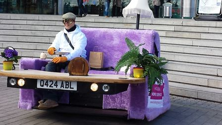 A sofa that can drive at up to 80mph toured Norwich, to promote car firm Holden Group.