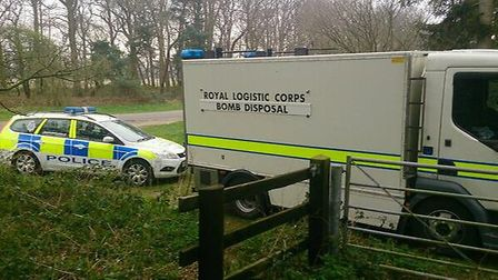 A bomb team at the Euston Estate. Credit: Suffolk Police