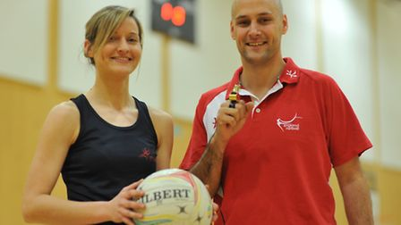 Netball stars at City Academy in Norwich. Gary Burgess and Sophie Hansell. Photo: Bill Smith