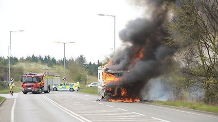 Fire crews were called after a camper van caught fire on the outskirts of King's Lynn. Picture: Ian