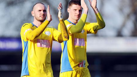 Dan Quigley, right, with David Bell at The Walks on Saturday. Picture: Matthew Usher.