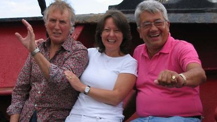 Johnnie Walker, his wife Tiggy, and Tom Edwards on a ship chartered to mark the 45th anniversary of