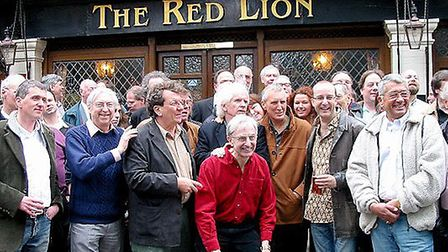 Former Radio Caroline DJs reunite at their favourite London watering hole. From left to right Keith