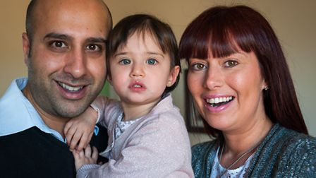 Fiaz and Tracey Bhatti with daughter Olivia. Photo: Bill Smith