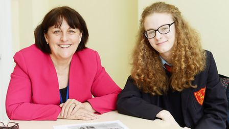 Neatherd High School student and new Member of Youth Parliament Emily Fox, with Baroness Scott who w