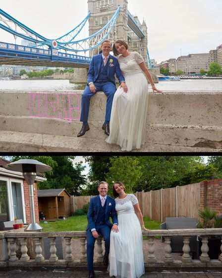 Ben and Natalie Farrin wedding day shoots side by side
