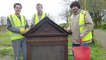 William Wallace (right), and two of the students. First World War memorial is being restored by stud