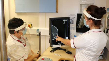 Radiographers Sally Leggett and Laura Lloyd at West Suffolk NHS Foundation Trust's mobile breast screening unit.Picture:...