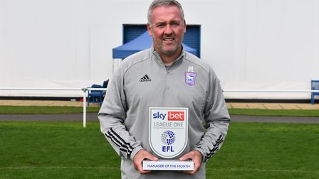 Ipswich Town boss Paul Lambert has won the League One manager-of-the-month award. Picture: EFL