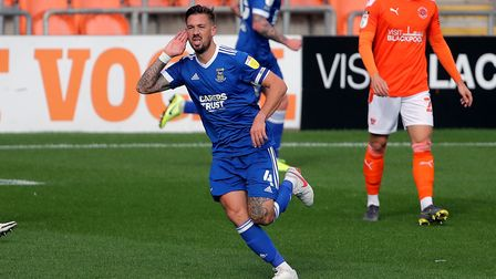 Luke Chambers celebrates after his superb strike gave Ipswich Town the lead at Blackpool. Photo: PA