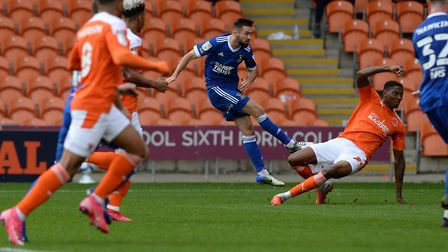 Gwion Edwards makes it 2-0 to Ipswich at Blackpool. Picture Pagepix Ltd