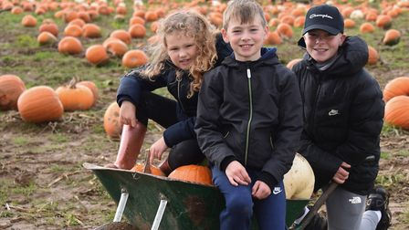 Imogen Moles, six, with Samuel O'Neill, eight, and his brother Oliver, 13, from Ipswich, with their