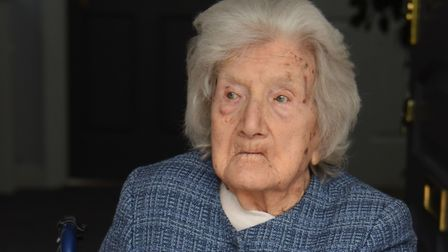 Olive Underwood who has celebrated her 106th birthday at the Chilton Croft Nursing Home at Sudbury,