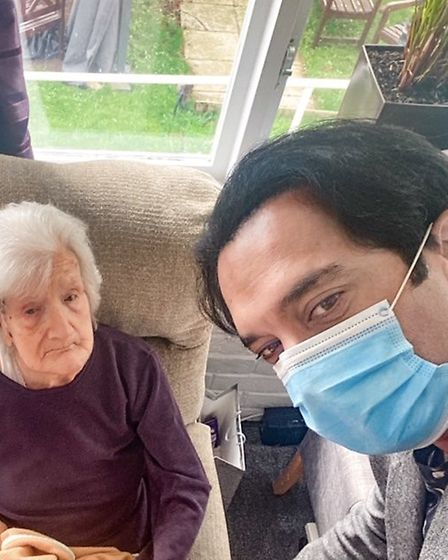 Olive Undwerwood with care home manager Muneeb Diwan on her 106th birthday Picture: CHILTON CROFT NU