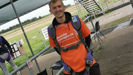 Danny Parker, from Newmarket, shed five stone to complete the skydive Picture: MUSCULAR DYSTROPHY UK