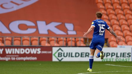 Teddy Bishop celebrates making the first half score 3-0 to Ipswich at Blackpool. Picture: PAGEPIX LT