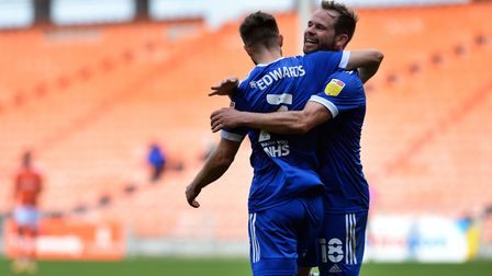Gwion Edwards celebrates his second goal at Blackpool. Picture Pagepix Ltd